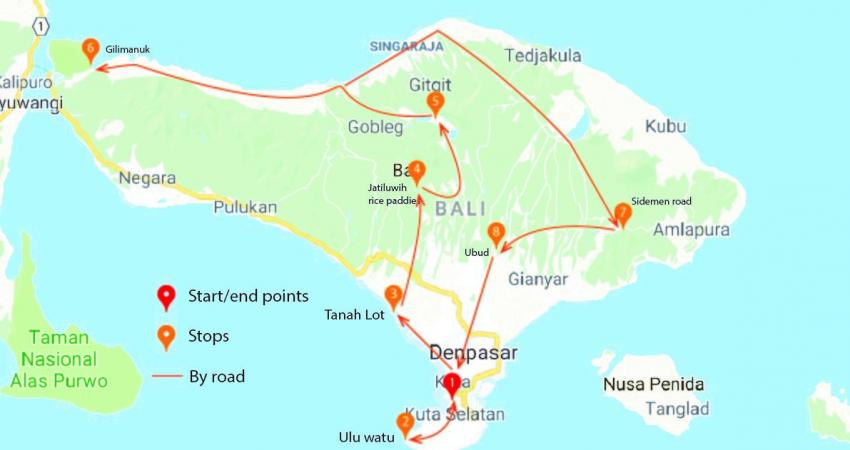 Map of Bali on a scooter itinerary