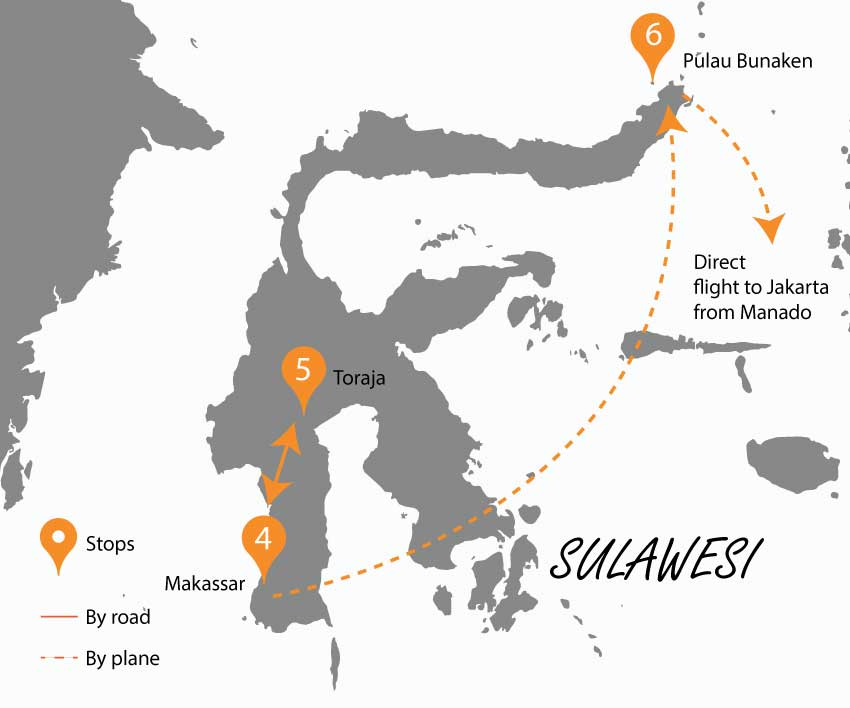 Sulawesi island part of the itinerary
