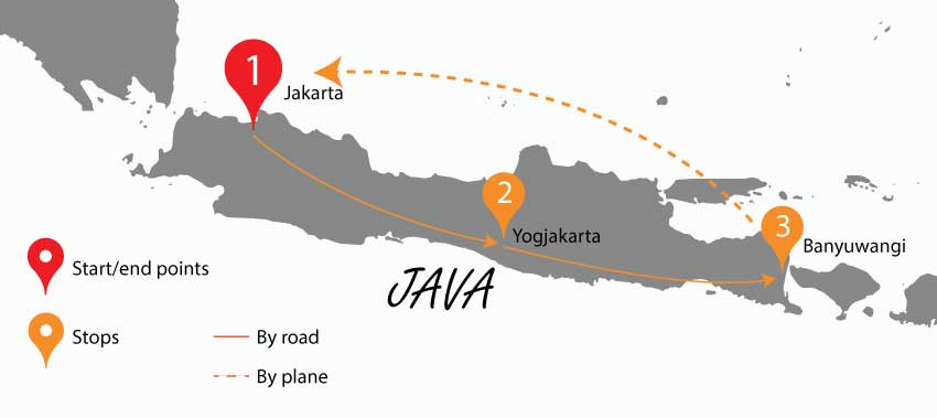 Java island part of the itinerary