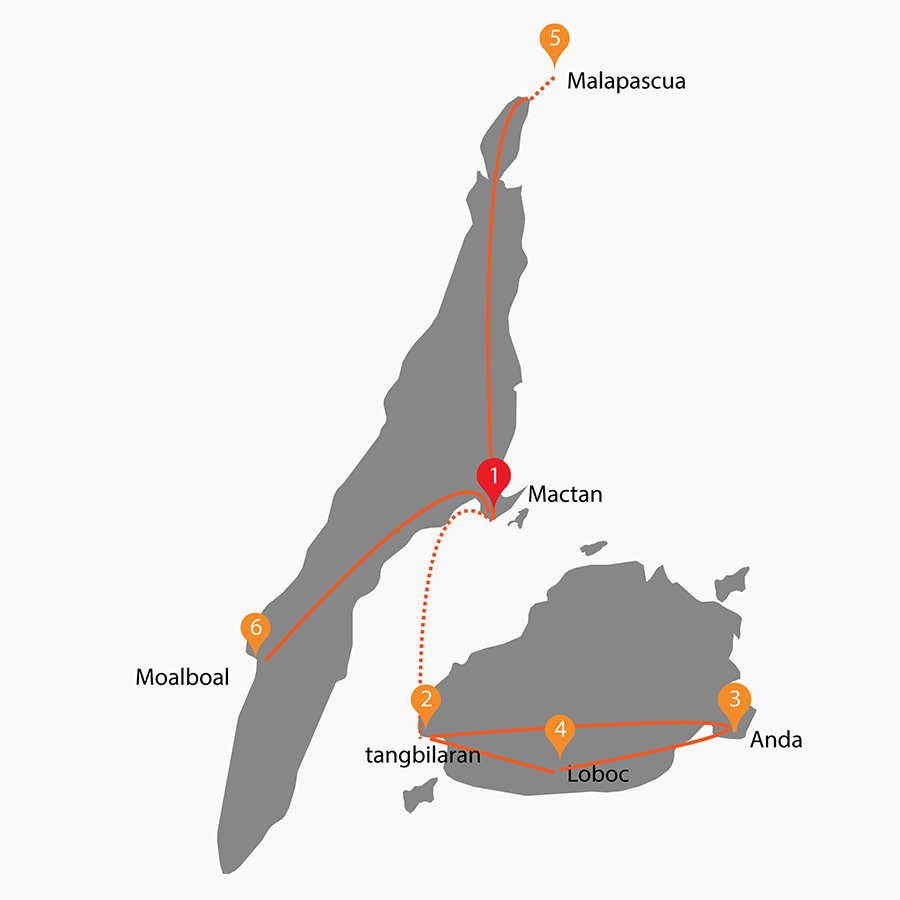 Itinerary map of Bohol & Cebu